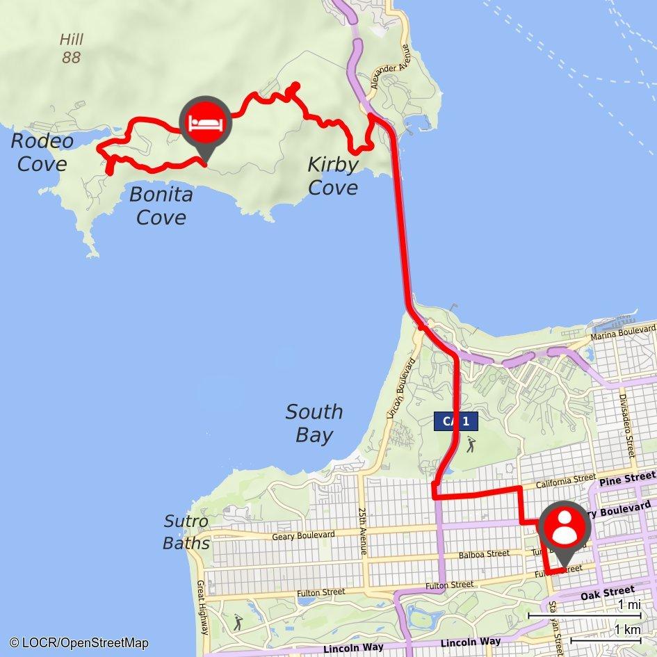 Individualisierte locr Anfahrtskarte NAVImap San Francisco