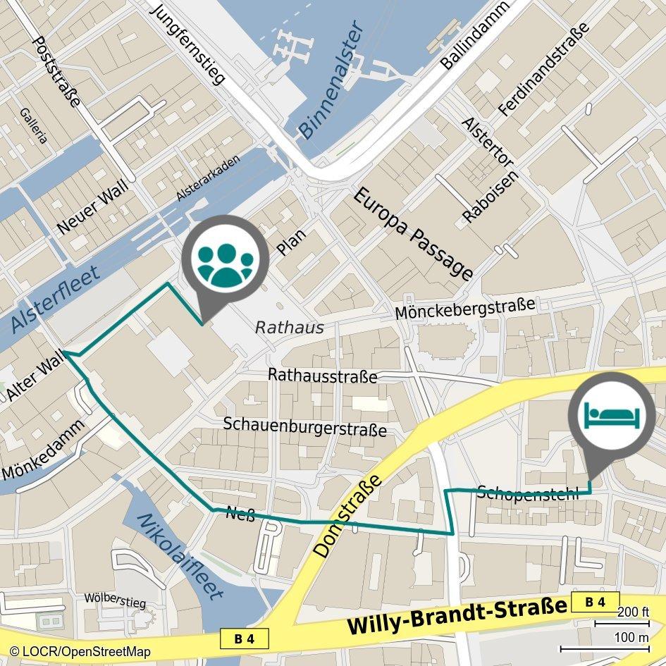 Individualisierte locr Anfahrtskarte NAVImaps Hamburg