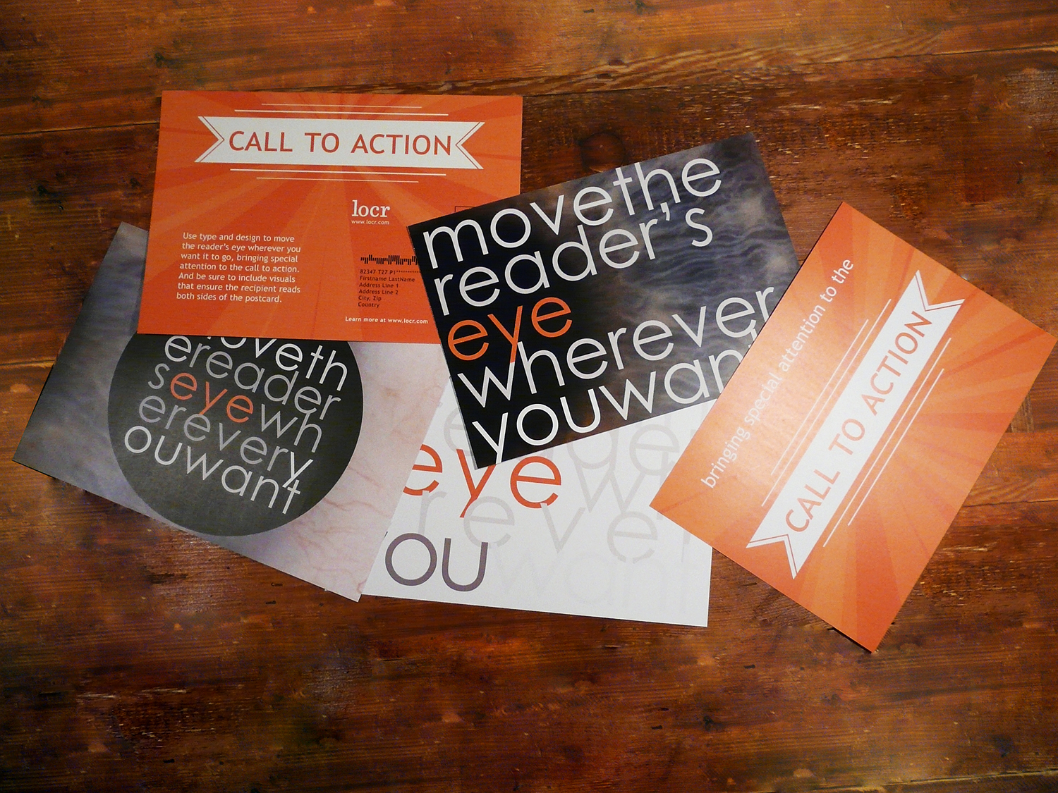 Well designed direct mail marketing campaign with engaging call to action moves the reader's eye