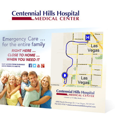 Centennial Hills Hospital printed direct mail campaign using locr personalized maps