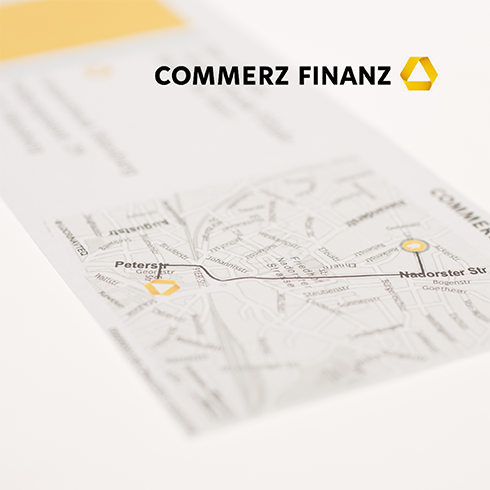 German financial service provider Commerz Finanz uses personalized maps from locr in direct marketing campaigns to drive traffic to their local branches