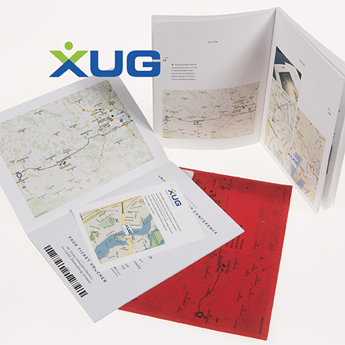 XUG event invitation direct mail uses personalized maps from locr to show attendees the way