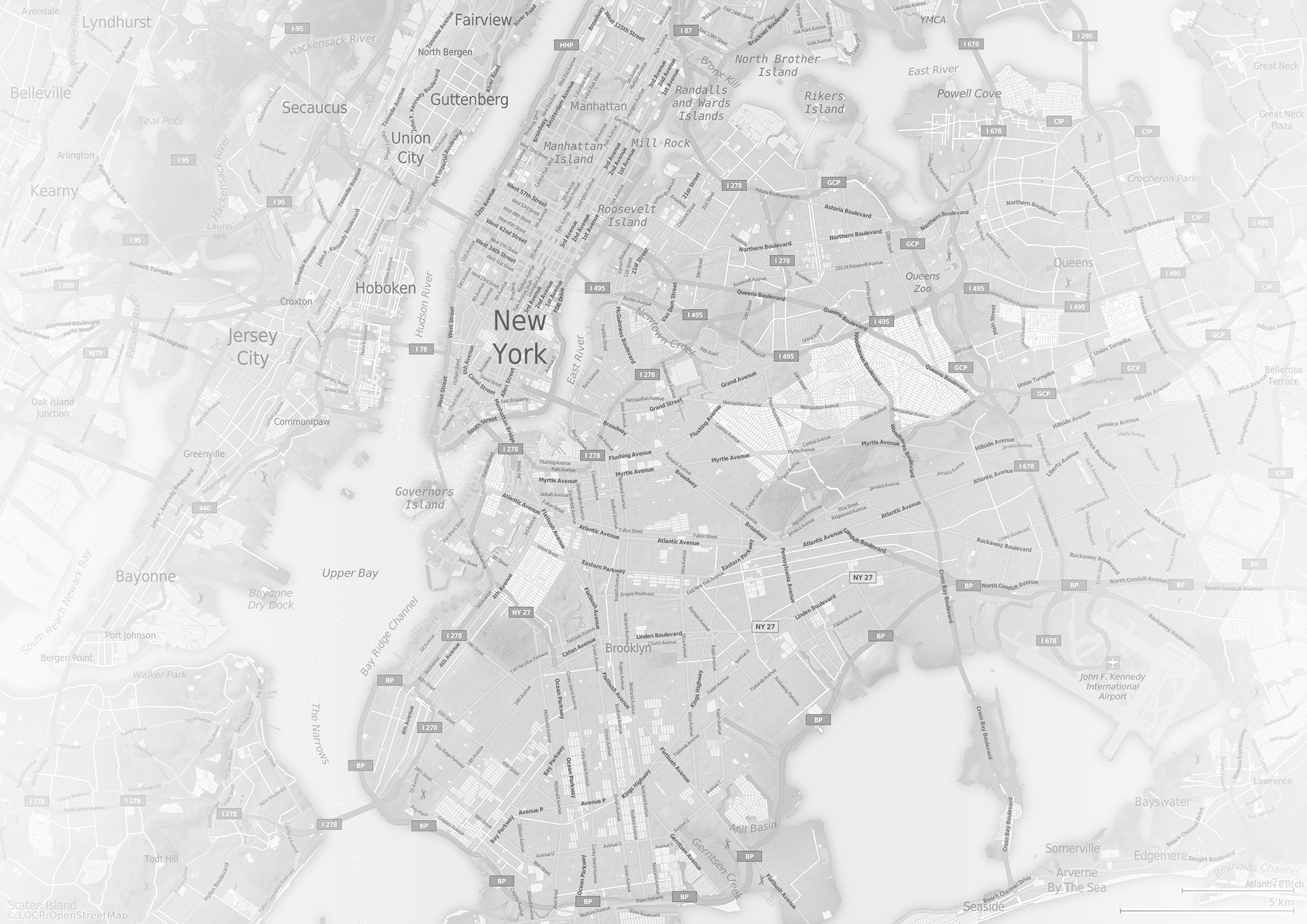 Personalized locr Map Grayscale New York For Direct Mail Marketing