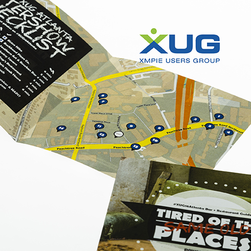 XUG event brochure with personalized Atlanta Aftershow maps from locr for attendees