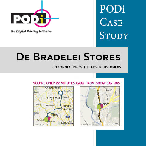 PODi case study de Bradelei Stores direct mail campaign with personalized maps from locr